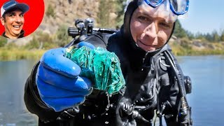 Found a SUSPICIOUS Duct Tape Package Scuba Diving in River! (Treasure Hunting)