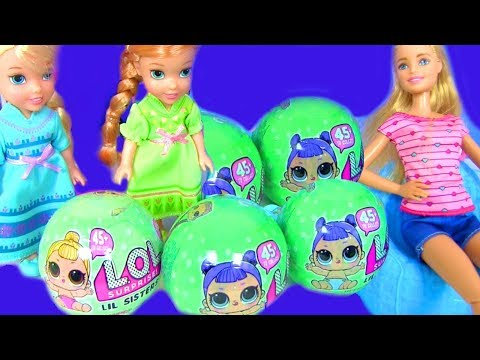 LOL Surprise Little Sisters Мультик Барби #КУКЛЫ ЛОЛ Barbie Baby Sitter Twins Elsa and Anna Toddlers