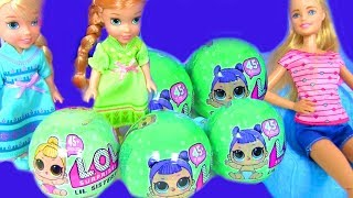 LOL Surprise Lil Sisters Мультик Барби #КУКЛЫ ЛОЛ Barbie Baby Sitter Twins Elsa and Anna Toddlers