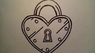 How To Draw A Heart Lock Padlock Locket London Bridge Locks Cartoon Key Hole charm