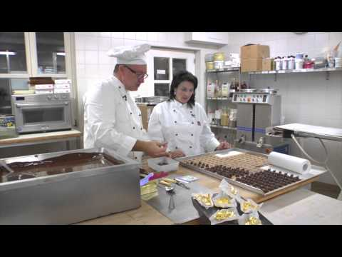 Gold-Topped Hand-made Chocolate Pralines in Passau Germany