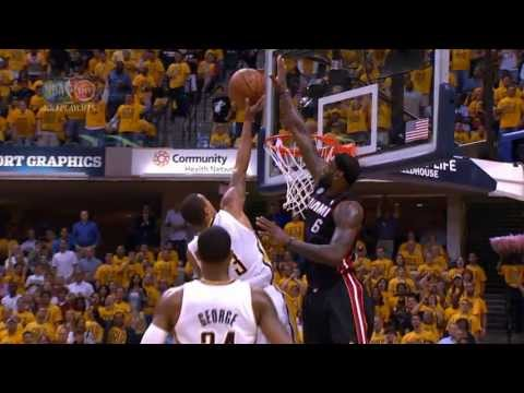 LeBron James' HUGE Swat on George Hill!!