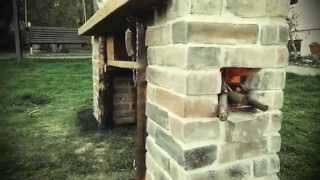 outdoorkitchen with 2 brick rocketstove fireplaces
