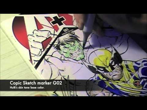 Todd Nauck Speed Drawing: Wolverine and Hulk Part 3 of 3