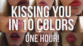 [BINAURAL ASMR] Kissing You in 10 COLORS! | One Hour of Kisses | Lipstick Application