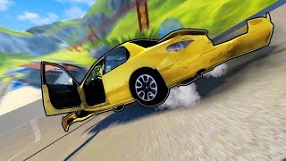 CRASHING CARS OFF A HUGE JUMP RAMP?! (BeamNG Drive Gameplay Roleplay) Realistic Car Crash Physics!