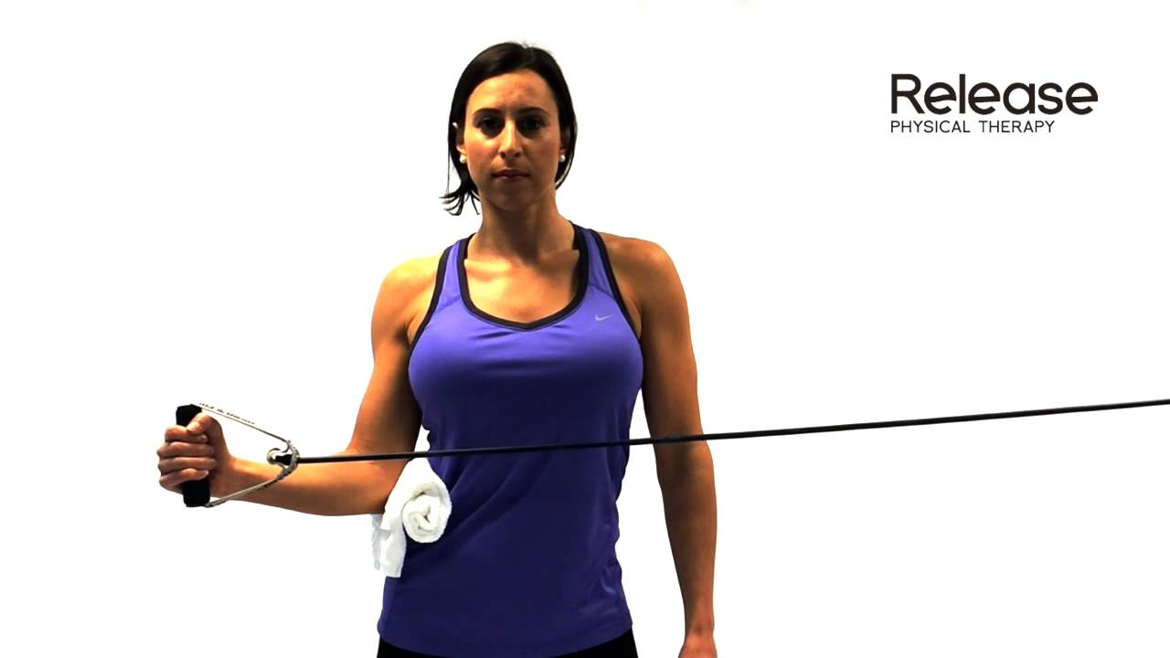 Standing Shoulder External Rotation With Theraband Youtube