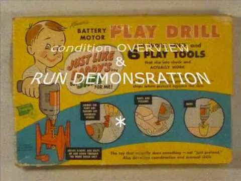 vintage Kenner's Battery Motor PLAY DRILL ©1958 - overview & run demonstration