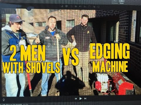 How to  Edge a Garden or Lawn - 2 Men with Shovels Vs Edging Machine!!