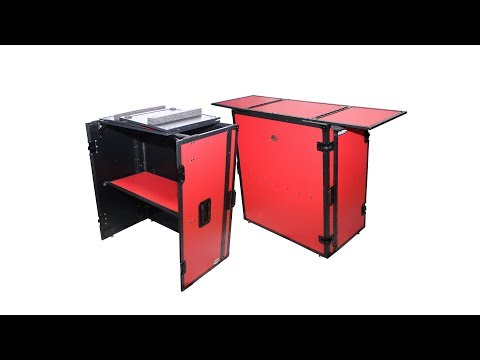 ProX XS-DJSTNRB RED DJ Performer portable Table foldable with wheels case Transformer series
