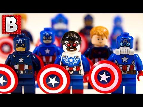 Every Lego Captain America Minifigure Ever!!! + Rare Sam Wilson Captain America | Collection Review