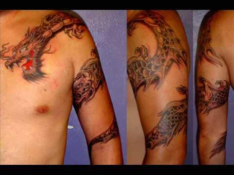 tatuajes de chicas desnudas. Uno de los más populares diseños de tatuajes son los tatuajes de dragones.