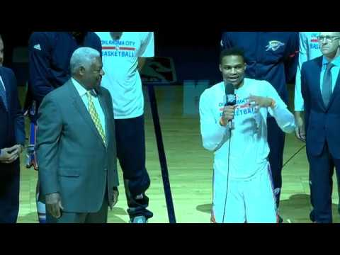 Oscar Robertson and Russell Westbrook Address OKC Crowd | April 12, 2017
