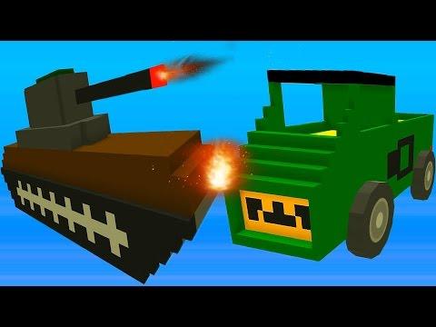 Blocky Demolition Derby Видео для детей мультик про машинки танки тачки уничтожай соперника в гонках