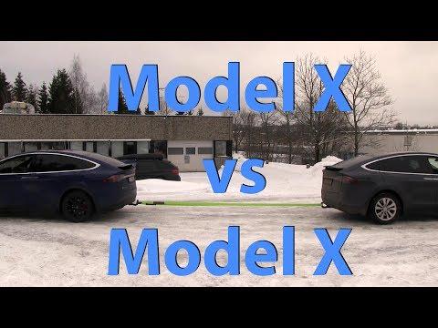 Tesla Model X P90DL vs 90D tug of war