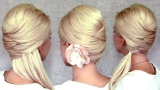 Criss cross hairstyles_ half up half down, ponytail and updo for medium long hair tutorial