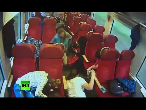 CCTV: Polish train driver rockets through cars to warn passengers of inevitable crash