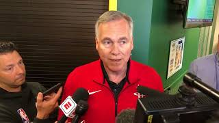 Mike D'Antoni discusses adjustments his team will need to make heading into Oracle Arena and more