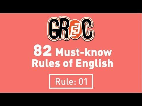 Correct Usage of Grammar: Rule - 01