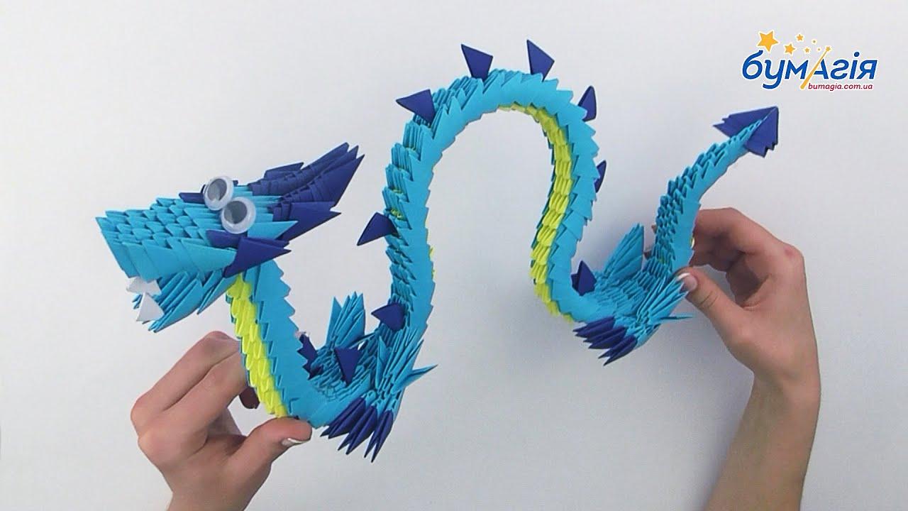 Оригами китайский дракон из модулей оригами схемы