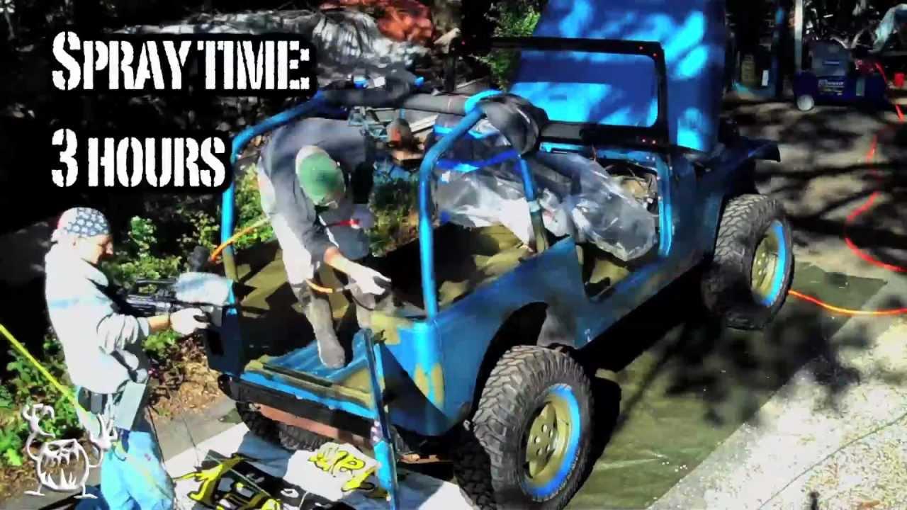 Spray On Jeep Project Monstaliner D I Y Bedliner Youtube