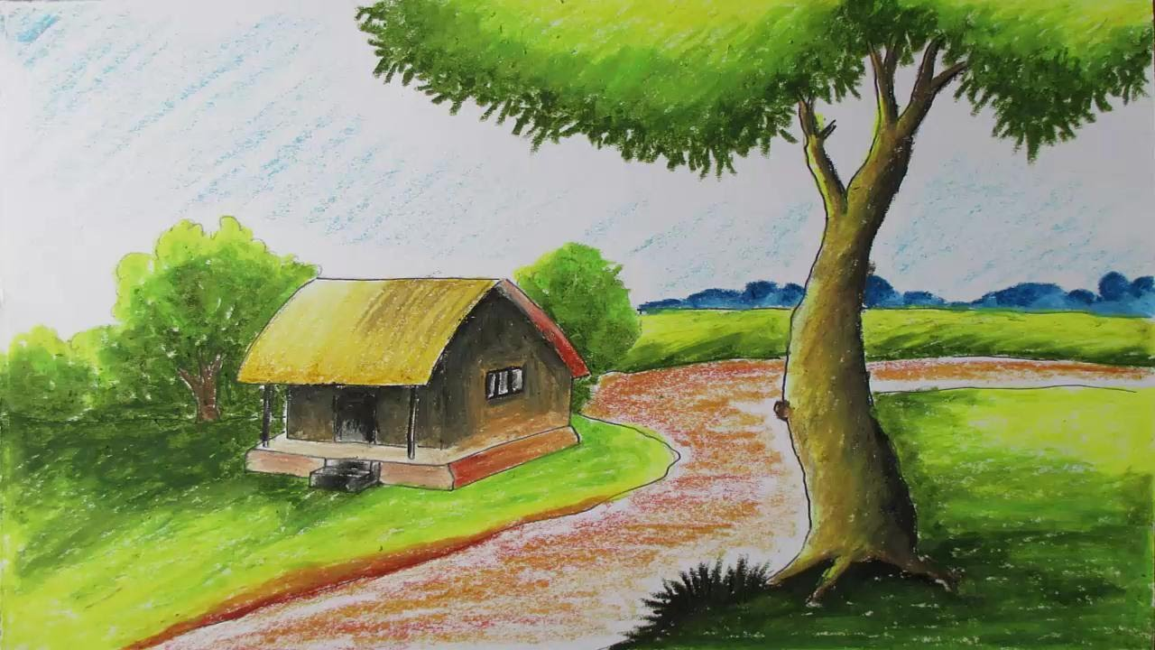 Oil Colors Drawing How to Draw a Village