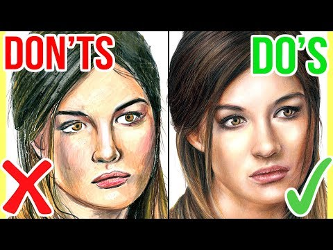 DO'S & DON'TS: How To Draw a Face with Coloured Pencils   Realistic Drawing Tutorial Step by Step