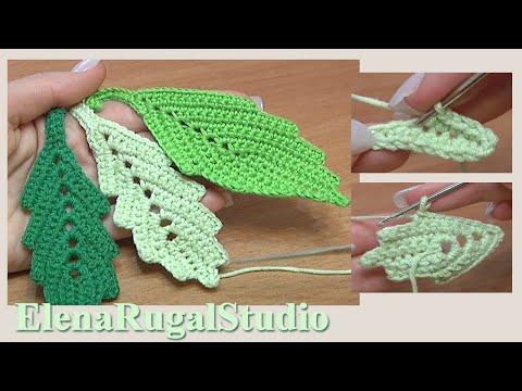 Вязание крючком листьев.