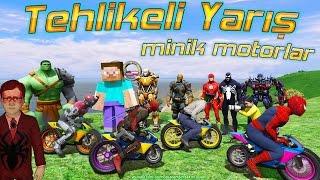 Minik Motorlar ile Tehlikeli Yarış Kabuto Örümcek Çocuk ve Steve Yeni Bölüm İzle