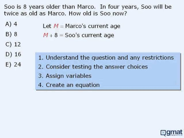 GMAT Prep - Math Lesson - Intro to Word Problems