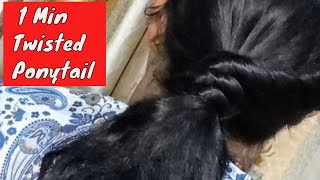 1 Min Everyday Quick & Easy Twist Ponytail Hairstyle For School ,Work//Easy Twisted Ponytail