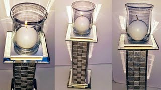 DIY Dollar Tree Glam Tower Candle Holder VERY VERY EASY