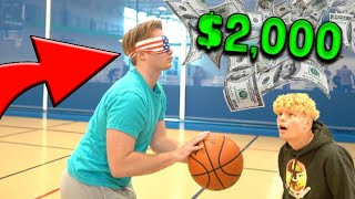 $2,000 BLINDFOLDED 3 Pt Basketball Challenge!
