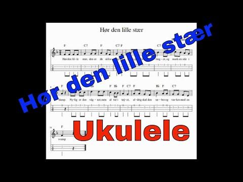 Hør den lille stær. Tabs og akkorder for ukulele. Becifring.
