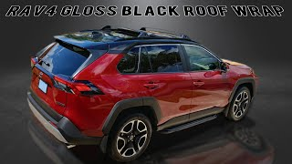 2019 RAV4 Adventure Gloss Black Roof Wrapping Mod - Custom XSE Hybrid Color 3M 1080 Vinyl Wrap
