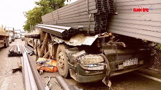 Hiểm họa từ những chiếc xe đầu kéo chở sắt