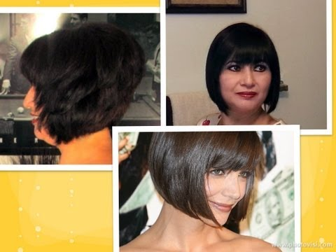 How to: cut hair at home do a Short Stacked Chin length BOB HAIRCUT with Bangs l