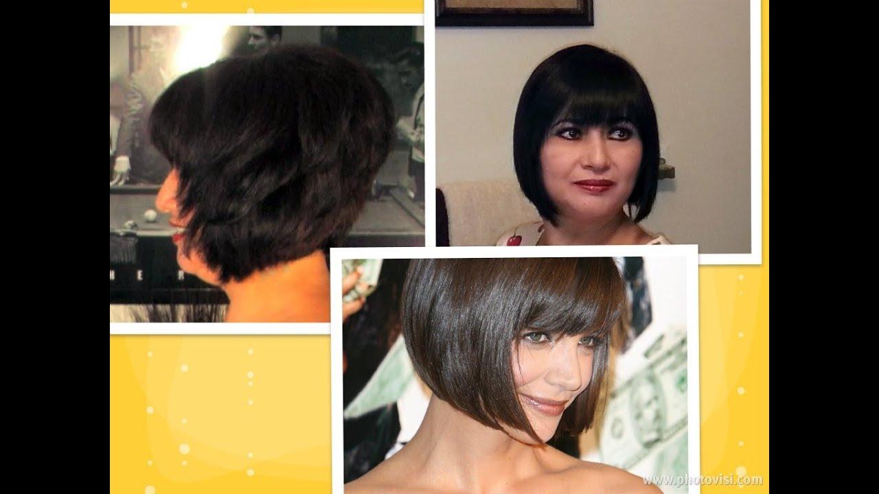 How to: cut hair at home do a Short Stacked Chin length BOB HAIRCUT ...