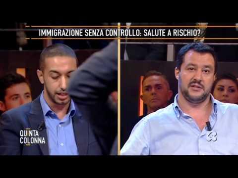MATTEO SALVINI - TV Quinta Colonna - Immigrazione duro scontro tra Salvini e Chaouki