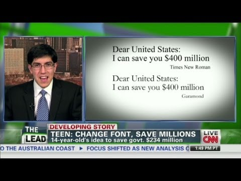 Teen: Change font, save millions