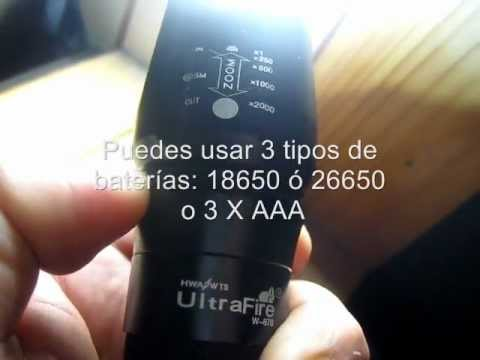 W-878 UltraFire. Linterna con Zoom Y Led XM-L T6. 1000 Lúmenes - www.tienda8.cl