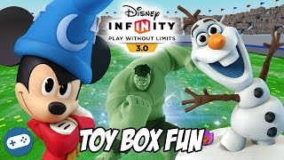 Mickey Mouse Hulk and Olaf Disney Infinity 3.0 Toy Box Fun Gameplay