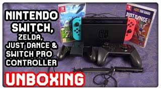 Nintendo Switch, Zelda Breath of the Wild, Just Dance 2017 & Switch Pro Controller Unboxing in 4K!