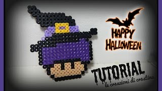 Streghetta di HALLOWEEN con Hama beads/pyssla - DIY Witch Super Mario Mushroom Tutorial