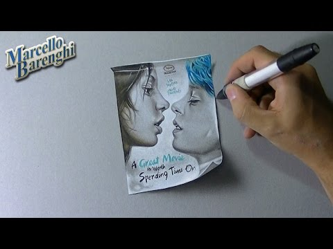 Drawing Time Lapse: a movie poster of Blue is the warmest colour