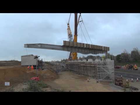 A47 Postwick Hub Film 2015 - Beam lift for the three-span bridge