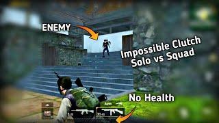 Impossible solo vs squad fight clutch Pubg mobile | zero Health fight | Pubg mobile Hindi Gameplay