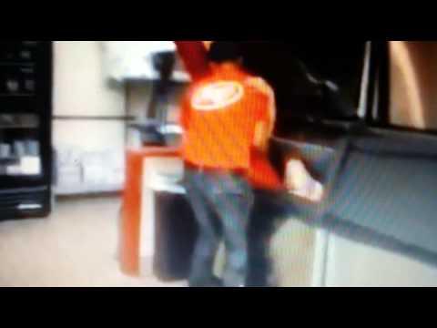 Bush's Chicken employee inside ice machine