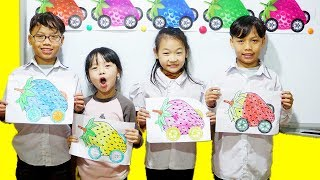 Hunter Kids go to School Learn Color Strawberry Driving    Classroom Funny Nursery Rhymes