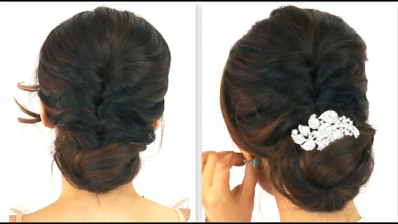 ... BRAIDED BUN PROM HAIRSTYLES FOR MEDIUM LONG HAIR TUTORIAL - YouTube